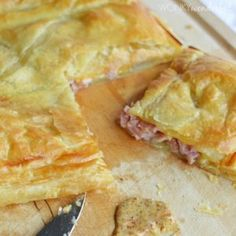 Ham and Cheese Puff Pastry Bake - Great way to use up leftover ham with puff pastry or phyllo dough - wonkywonderful.com