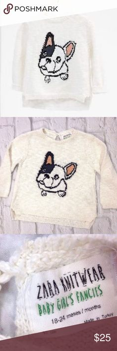 ZARA KNITWEAR BOSTON TERRIER DOG SWEATER BABY GIRL SUPER CUTE ZARA KNITWEAR BOSTON TERRIER SWEATER  BABY GIRL SIZE 18-24 MONTHS  LIGHTLY WORN. EXCELLENT CONDITION  SEE PICTURES FOR DETAILS Zara Shirts & Tops Sweaters