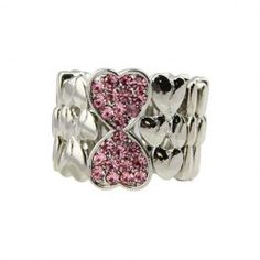 $8.38 Brilliant Colored Diamante Heart Embellished Wide Ring For Women