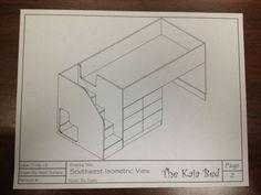 Kids Cama Blueprint Carpintería Diy planes dibujos proyecto Cnc Niño Niña Craft Fun