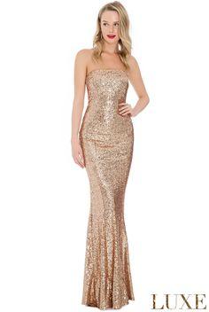 510271c53c96 Sequin Portrait Neckline Maxi Dress. Strapless Prom DressesMaxi ...