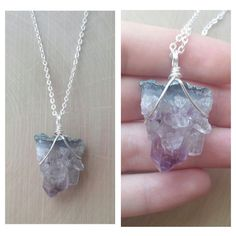 Wire Wrapped Amethyst Cluster Necklace
