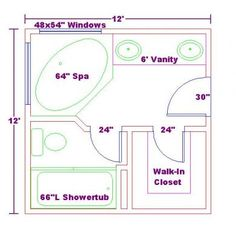 X Foot Master Bathroom Floor Plans Walk In Shower Possible - Bathroom floor plans ideas