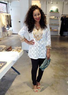 Calypso St. Barth top and @AG Jeans - @BabyShopaholic Trina looks beautiful! #calypsostyle #bloggerswelove #atlanta