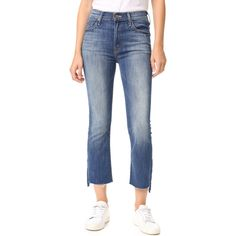 MOTHER Mother The Insider Crop Step Fray Jeans - Not Rough Enough (14,770 INR) ❤ liked on Polyvore featuring jeans, cropped frayed jeans, frayed-hem jeans, faded jeans, whiskered jeans and blue jeans