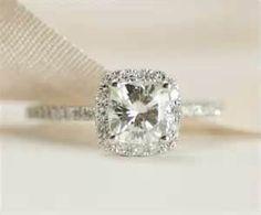Cushion Moissanite Diamond Ring 14K White Gold by SundariGems
