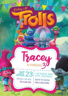 Trolls Birthday Invitation Template get this here! Trolls Birthday Party, Troll Party, 2nd Birthday Parties, Birthday Party Decorations, Birthday Ideas, Birthday Banners, Happy Birthday Dog, Farm Birthday, Trolls Invitation