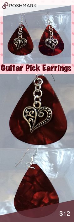 """Red Pearlescent Guitar Pick Heart Charm Earrings These handmade dangle earrings are made with genuine red pearlescent celluloid guitar picks, antique silver Tibetan heart charms & silver-plated ear wires and rings. 2"""" total length including ear wire. Handcrafted by me.   *Can be replaced with Sterling Silver ear wires for an additional $1. Please comment & I'll create a custom listing*  Jewelry items are priced firm as a single purchase due to material cost & Poshmark fees. Why not BUNDLE…"""