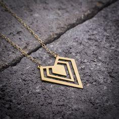 Geometric necklace gold diamond necklace diamond shape by ByYaeli