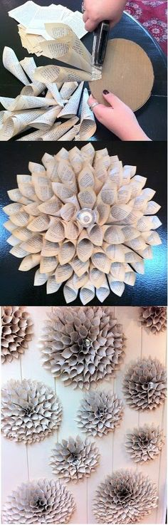 Dahlia Blossom DIY Old Book Crafts - Zukünftige Projekte - Origami Diy Old Books, Old Book Crafts, Newspaper Crafts, Diy With Books, Diy Newspaper Decorations, Book Decorations, Party Wall Decorations, Newspaper Flowers, Recycle Newspaper