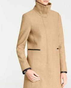 Camel & Black: Enjoy 40% off everything for Trends with Benefits (use code TRENDS40) - Faux Leather Trim Wool Blend Coat   Ann Taylor