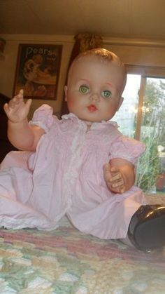 """1960's Eegee """"Carrie"""" 23"""".  Had a couple of dolls just like this one.  Loved that their eyes opened and closed but hated that they had no hair to play with!"""