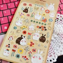 3 Sheets/Lot DIY Scrapbooking Paper 3D Rabbit Diary Photo Album Stickers Wedding Decoration Sticker(China (Mainland))