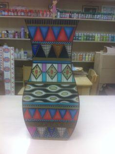 Vaso decorativo pintura etnica