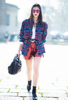 Metallic Shorts and Sunglasses + Printed Jacket + Black Be