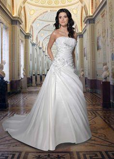 satin-a-line-strapless-straight-neckline-rouched-bodice-wedding-dress-