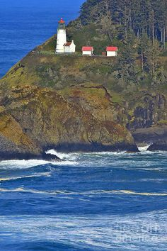 Heceta Head Light is a lighthouse located on the Oregon Coast 13 miles north of Florence, Oregon and 13 miles south of Yachats, Oregon, United States. It is located at Heceta Head Lighthouse State Scenic Viewpoint midway up a 205-foot tall headland
