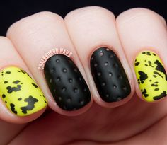 For a little bit of texture on your nails, try this unconventional mani designed by Sarah White of Chalkboard Nails. To achieve perforated polish, apply a few thick coats of nail polish on your nails, layered in with a quick dry topcoat. Before the polish is dry, use a dotting tool and press down into the semi-set polish. Check out Chalkboard Nails for the full tutorial »