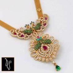 Beaded Jewelry Designs, Gold Jewellery Design, Jewelry Patterns, Necklace Designs, Peacock Jewelry, Emerald Jewelry, Gold Jewelry, Jewelery, Diamond Jewelry