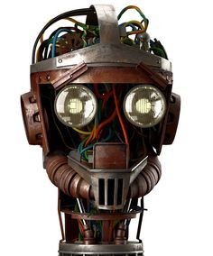 vintage robot head 3 (via AdWeek CGI rendering by ad agency Publicis for client Boa Vista on Obsolete business robots) Vintage Robots, Retro Robot, Cyberpunk, Character Art, Character Design, Steampunk Festival, Sculpture Metal, Arte Robot, Poses References