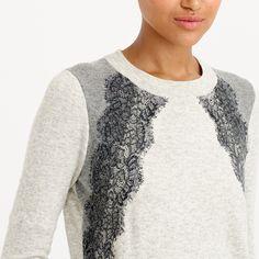 Colorblock lace panel sweater : sweaters   J.Crew