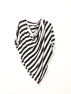 Nursing Cover/ Nursing Poncho/ Full Coverage/ Breastfeeding/ Nursing Shawl Black and White Striped