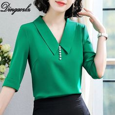 Dingaozlz 2019 New Korean Office lace shirt Fashion V-collar White blouse Solid color Elegant Women Chiffon Tops blusa feminina Neck Designs For Suits, Dress Neck Designs, Kurti Neck Designs, Blouse Designs, Stylish Dresses, Fashion Dresses, Sewing Blouses, Casual Work Outfits, Blouse Styles