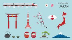 Flat Icons Design Landmark Japan. Stock Images