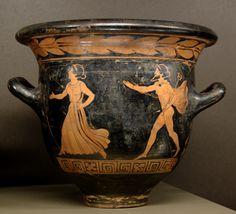 Hermes pursuing a woman, bell krater by the Dolon Painter, circa 390/80 BC. Paris: Louvre.