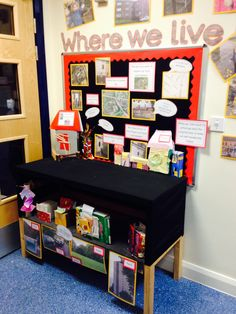 Where we live display. Houses and homes topic, nursery. Year 1 Classroom, Early Years Classroom, Preschool Classroom, Reggio Classroom, Classroom Ideas, School Displays, Classroom Displays, My Family Topic, All About Me Topic
