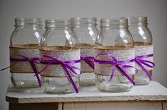 5 lace and burlap mason jars with your choice color ribbon, rustic wedding vases, shabby chic decor, country wedding