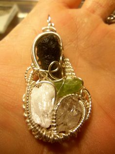 Moldavite / Selenite / Peridot / Herkimer Diamond wire wrap Herkimer Diamond, In Ancient Times, Druzy Ring, Peridot, Wire Wrapping, Wraps, Pendants, Drop Earrings, Crystals