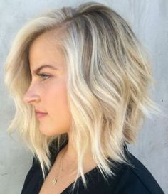 short a-line blonde bob hairstyle for thin hair