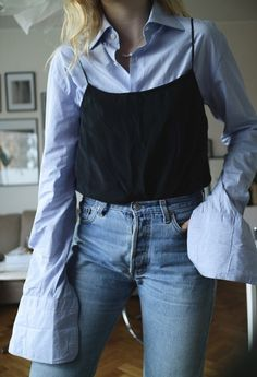 layering | sleeves | cami | jeans