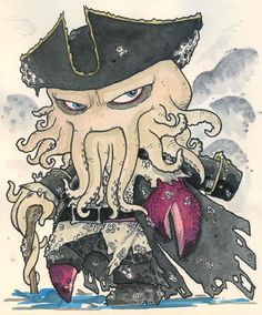 Chibi-Jack Sparrow 2 by hedbonstudios on DeviantArt Horror Picture Show, Rocky Horror Picture, Jack Sparrow Dibujo, Pirate Cartoon, Traditional Ink, Horror Pictures, Chibi Characters, Davy Jones, Favorite Cartoon Character