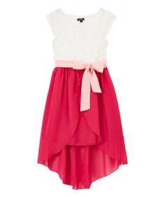 Ivory & Cranberry Hi-Low Dress - Girls #zulily #zulilyfinds
