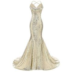 Beilite Sequins Mermaid Prom Dress Straps Backless Party Gown Gold 4:... (410 BRL) ❤ liked on Polyvore featuring white dress, backless sequin dress, backless prom dresses, backless dresses and prom dresses