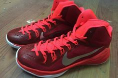 Nike XDR Lunar Hyperdunk 2014 Training Sneakers - Color: University Red/Team Red/White and Metallic Silver