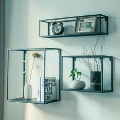 Floating Wall Shelf Plant Stand Flower Display Storage Decor Small Medium Large for sale online Wall Hanging Shelves, Box Shelves, Floating Wall Shelves, Bookcase Storage, Metal Shelves, Display Shelves, Shelving Units, Black Metal Shelf, Industrial Shelving
