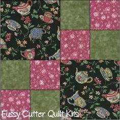 Tea Pots Cups Roses Flowers Floral Fabric Easy Pre-Cut Quilt Blocks Top Kit Squares
