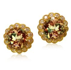 18k Gold and Diamond Zultanite Cupcake Earrings by Erica Courtney®