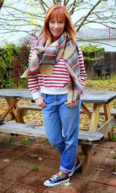 Fashion Fairy Dust  Striped Sweatshirt, Plaid Blanket Scarf, Boyfriend Jeans And Converse