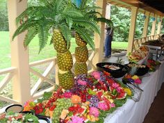 Tropical Fruit Display Buffet Table