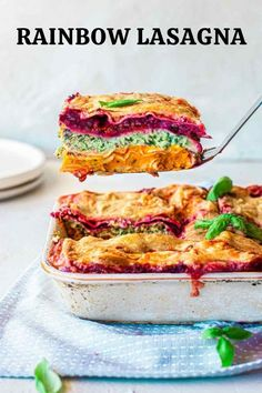 The most colourful lasagna packed with vegetables of the rainbow Vegan Dinner Recipes, Vegan Dinners, Vegetarian Recipes, Healthy Recipes, Vegan Dinner Party, Snacks Recipes, Dinner Healthy, Vegetarian Cooking, Delicious Vegan Recipes