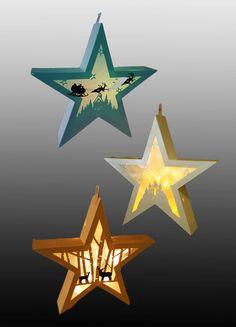 SET van 3 opknoping Star lantaarn sjablonen