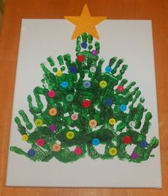 Handprint Christmas Tree with buttons. cute!