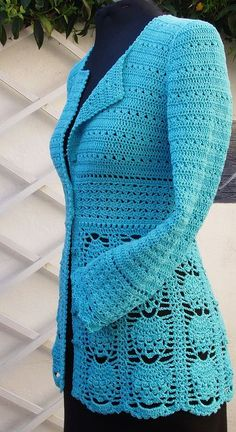 Crochet Jacket Pattern from side by PDFPatternDesign, via Flickr (Link from image is for image only.  See first comment below for direct link to Ravelry.com.)