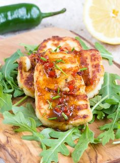 Versatile fried marinated halloumi cheese works so well with spices: add interest with chili, lime and garlic. Gluten Free and Keto Friendly Cheese Recipes, Veggie Recipes, Vegetarian Recipes, Cooking Recipes, Healthy Recipes, Veggie Dishes, Hallumi Recipes, Cheese Dishes, Healthy Dinners