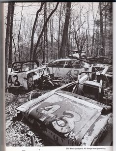 Petty's race car graveyard in the mid '70's
