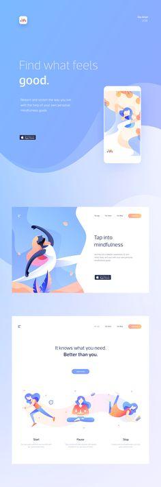 UI/UX & web design for a mobile app which helps users lead a life of mindfulness. UI/UX & web design for a mobile app which helps users lead a life of mindfulness. Design Responsive, Web Ui Design, Graphic Design Trends, Blog Design, Design Design, Dashboard Design, Modern Design, Website Design Inspiration, Fashion Inspiration